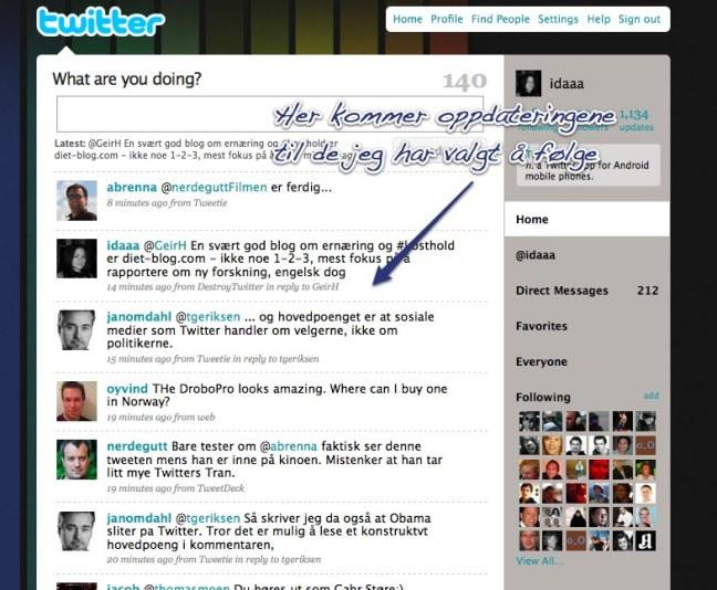 Når du er logget inn, så vises oppdateringene til alle du har valgt å følge.